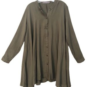 ESSUE Olive Green tab sleeve Tunic or Dress